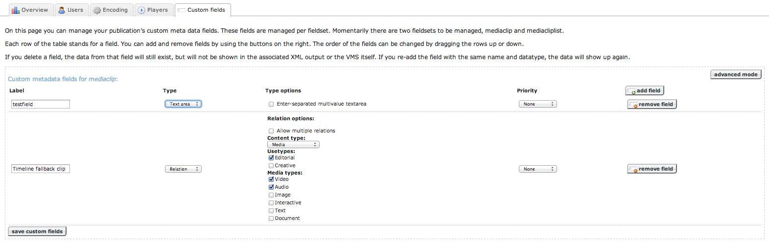 Custom fields tab