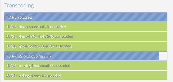 transcoding progress display
