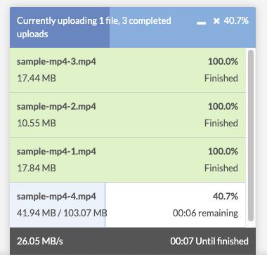 Upload progress display pop up