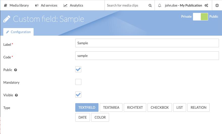 Custom Metadata Field